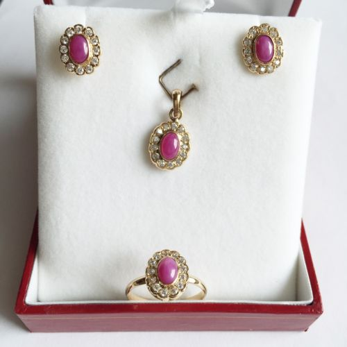 Jewelry set of Earring, Pendant, and Ring - 14K Yellow Gold Pink Star - O4
