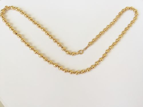 Beautiful 14K Yellow Gold Balls necklace 18 inches, width: 2.7-5 mm - C118