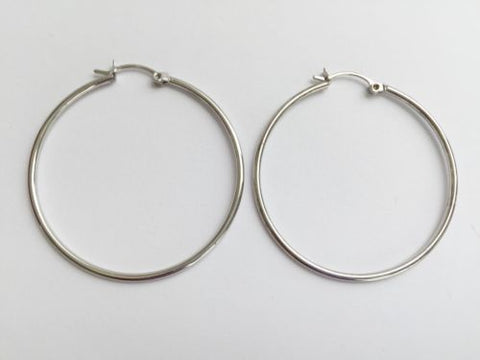 14K White Gold Hollow Hoop Earrings 38mm diameter - E8