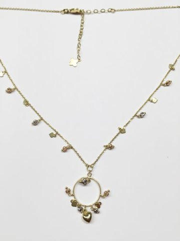 14K Yellow Gold Heart Necklace-Nice Chain with dangling pendant - C75