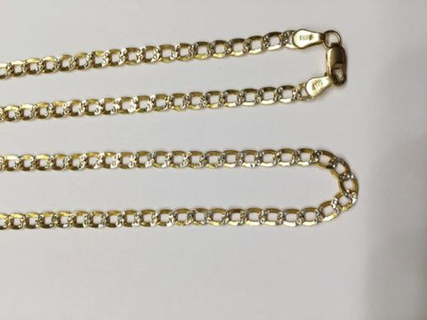 14K Gold Two Tone Flat Cuban Hollow chain 20 inches - Width 3.2MM - C63