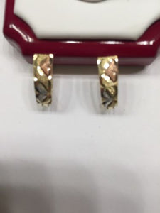 14K Gold Tri-color Diamond cut Earrings - E17