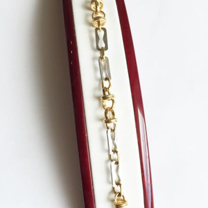14K Two tone Gold bracelet - 6.5 inches - B44