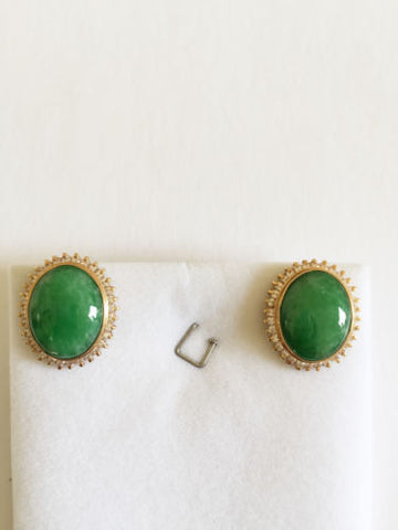14K Yellow Gold CZ and oval jade earrings - E50