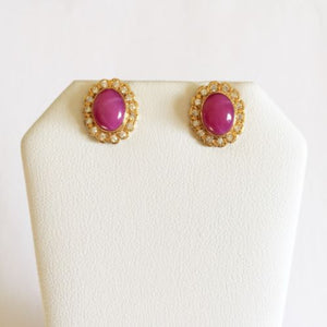14K Yellow Gold Pink Star Earrings - E47