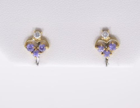 Very cute 14K Yellow Gold Earrings - E65 - Purple gemstone earrings
