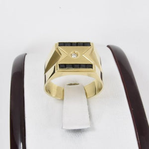 14K Yellow Gold Diamond Sapphire Men's Ring size 8.75 - R47