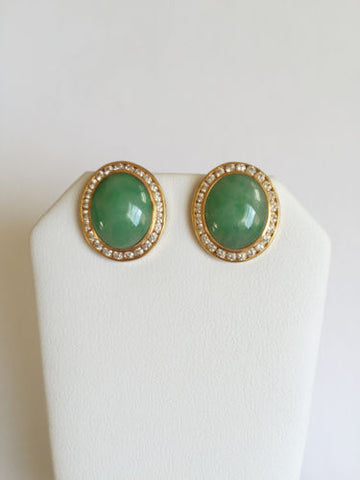14K Yellow Gold CZ and oval jade earrings - E51