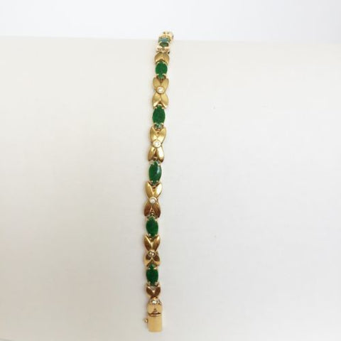 "14K Yellow Gold Jade Bracelet - Jade in small marsquise shape- 6.75"" - B66"