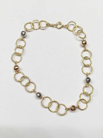 Cute 14K Yellow Gold Lady Circle Bracelet - 7 inches - B59