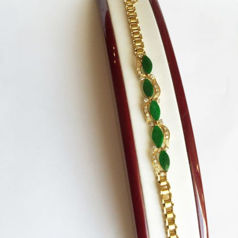 Beautiful Marquise Jade Bracelet 14K Solid Yellow Gold - 6.5 inches - B61