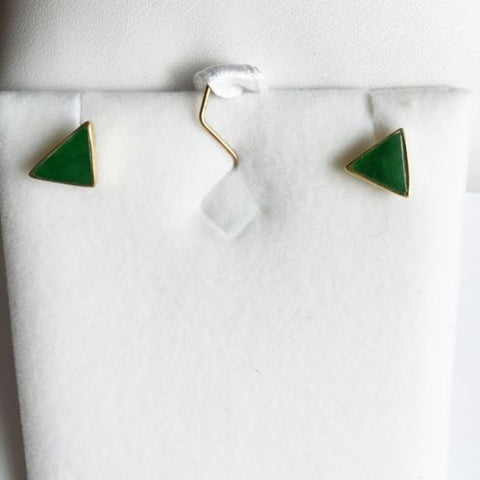 Small 14K Yellow Gold Triangle Jade Earrings - E36- Small Stud Jade Earrings