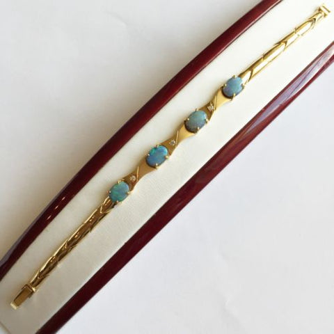 14K Yellow Gold Bracelet 7 inches - Blue Gemstone - B63