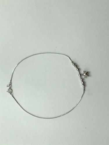 Small 14K White gold anklet 9 inches