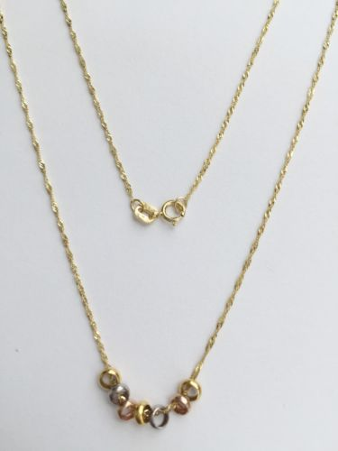 "Nice 14K Gold necklace attached 7 small circles pendant 17"" - C82,83,90,91"