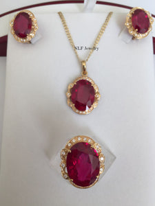 Beautiful set of Earring, Pendant, & Ring-14K Yellow Gold Red Gemstones - O6