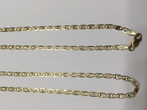 14K Gold Necklace - Beautiful Tri-color Chain 20 inches -Width 2.5 MM -C78