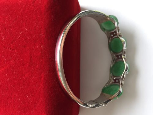 10K White Gold Jade and Cubic Zirconia Bracelet Bangle 54 x 47 MM - B52