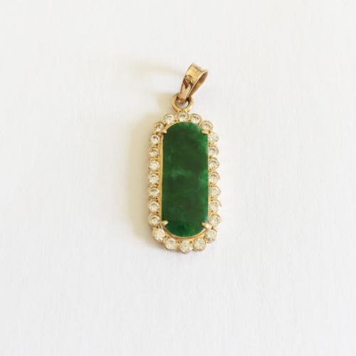 14K Yellow Gold Jade Pendant - P129