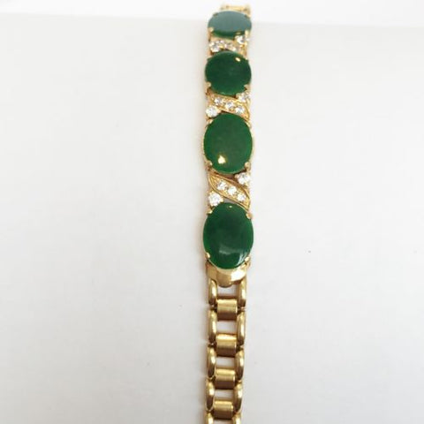 14K Yellow Gold Oval Jade bracelet- 6.75 inches - B67