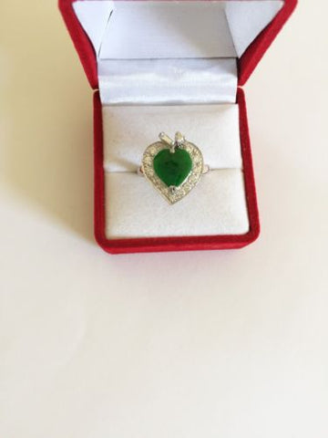 10K White Gold Heart Jade ladies ring size 7.75