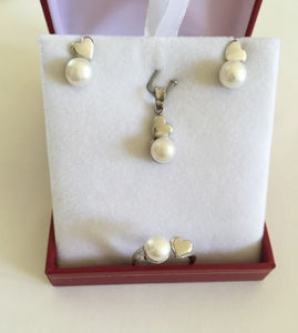 Jewelry set of matching Pearl ring, earrings, pendant in 10k white Gold