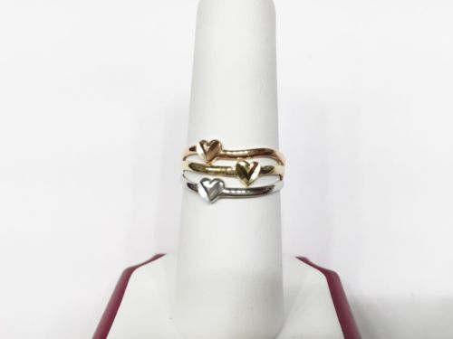14K Gold Lady or girl Tricolor Heart Ring - size 7.75 - R5
