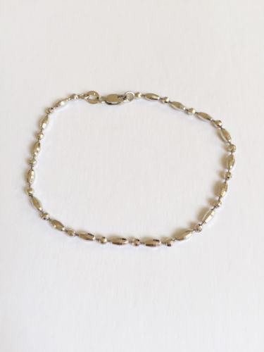 Small 14K White Gold Bracelet - 7 inches - B104 - Cute small size bracelet