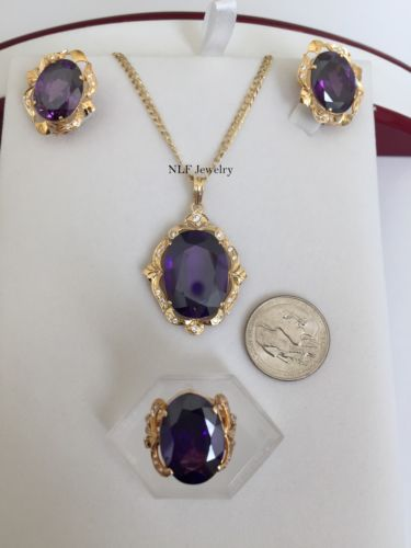Beautiful set of matching Earring, Pendant, & Ring-14K Gold Purple Gemstones -O7