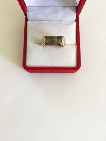 14K Yellow Gold Blue Gemstones ring - size 6.5 - R104