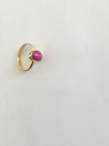 14K Yellow Gold Pink Star woman ring - size 5.5 - R126