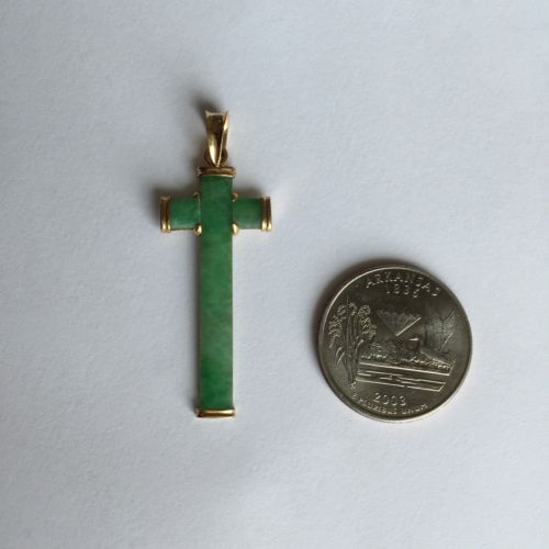 14K Yellow Gold Cross Jade Pendant - P148