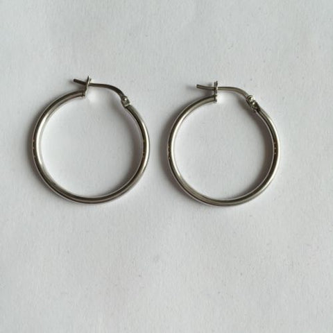 14K White Gold Hollow Hoop Earrings 20mm diameter - E9