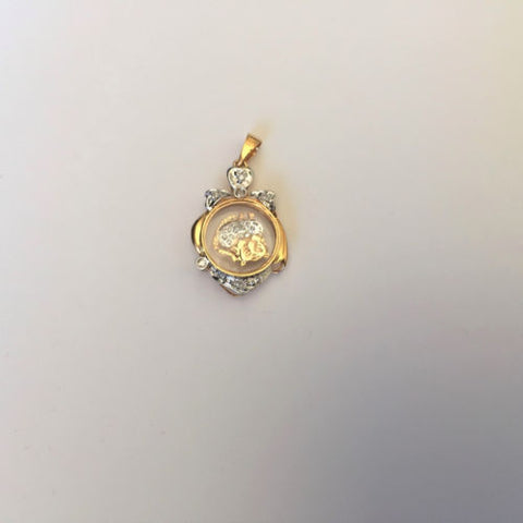 Small 14K Yellow Gold Tiger Pendant for kids - P454
