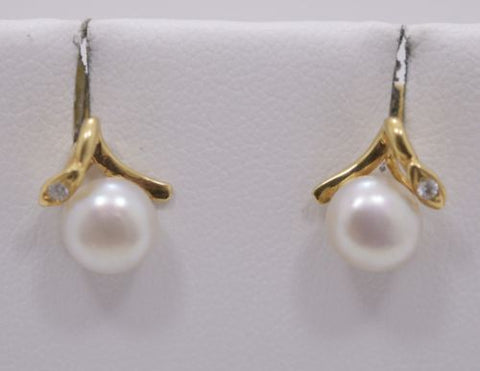14K Yellow Gold Pearl Earrings - E63