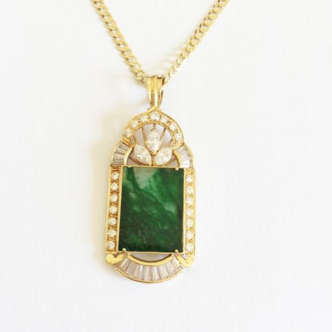 Rectangle shaped jade pendant - 14K Yellow Gold - P228