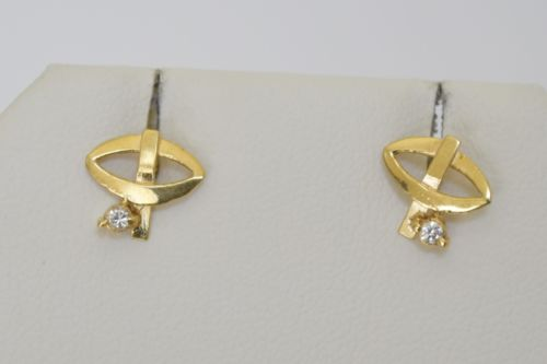 14K Yellow Gold CZ Earrings - E73 - Very small and light earrings