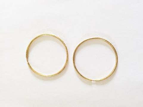 14K Yellow Gold Square Round Hoop Earrings
