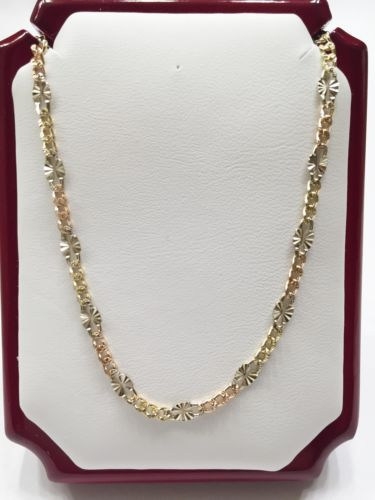 "14K Gold Necklace - Very beautiful Tri-color Chain 20"" & 22"" - C697071"