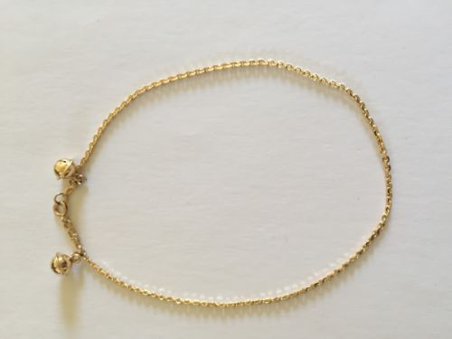 14K Yellow Gold Bells Dangling Ankets - Cable Chain Anket - O14