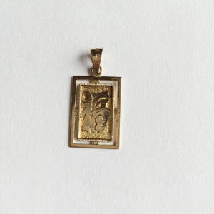 "Small 14K Yellow Gold ""luck"" letter in chinese Pendant - P136"