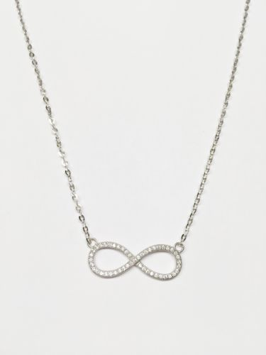 14K White Gold Necklace-Nice Chain attached 8 Infinite pendant 17 in - C32