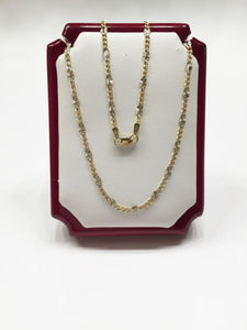 "Very beautiful tri-color 14K Gold necklace in 18"", 20 inches - C4748"
