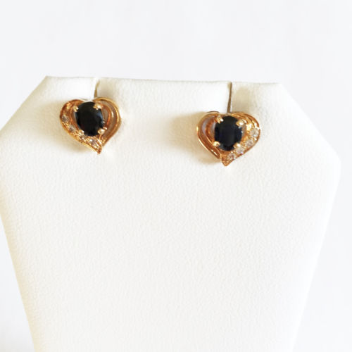 Very cute 14K Yellow Gold Heart Sapphire Earrings - E48 -Sapphire Heart Earrings