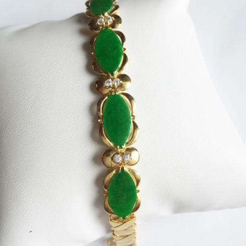Marquise Jade Bracelet 14K Solid Yellow Gold - 6 1/3 inches - B40