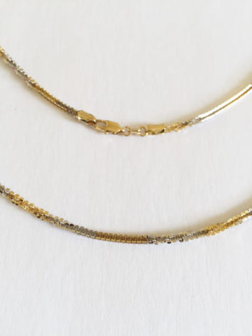 14K Gold necklace/chain - two tone necklace 22 inches, width: 2.5 mm -C113