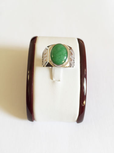 10K White Gold Oval Jade Ring for men size 10 - Men's jade ring - R95