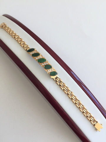 Small 14K Yellow Gold Jade Bracelet - B145