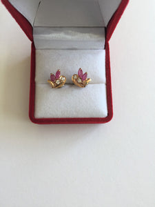 Very cute, small 14K Yellow Gold Ruby Earrings - E141