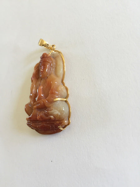 14K Yellow Gold Kwan Yin Buddha Natural Jade Pendant - P356